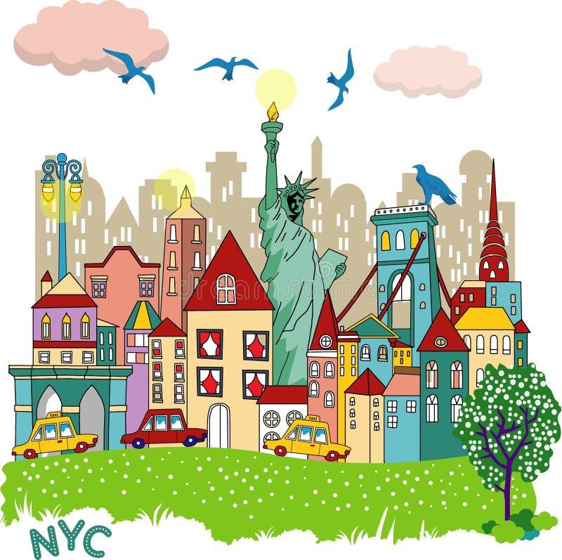 Nyc miasta wektorowy projekt royalty ilustracja