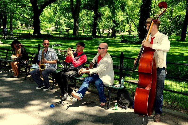 NYC: Musicians in Central Park royalty free stock photo