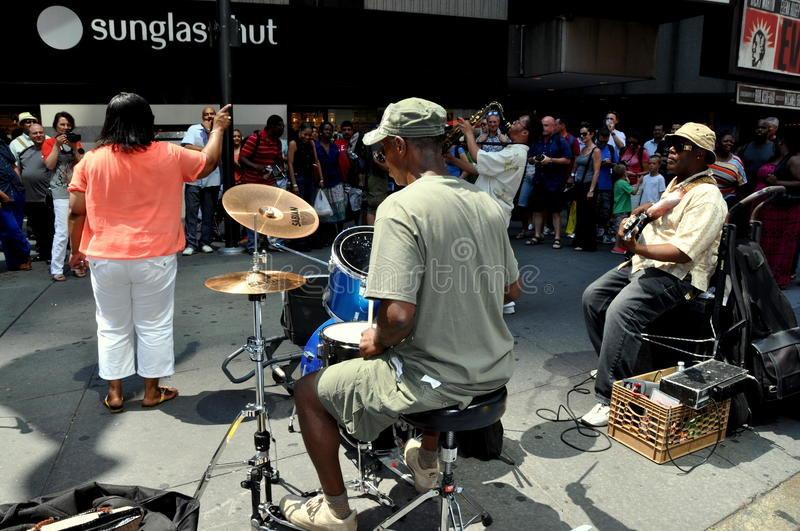 NYC: Musicians In Times Square Editorial Photo