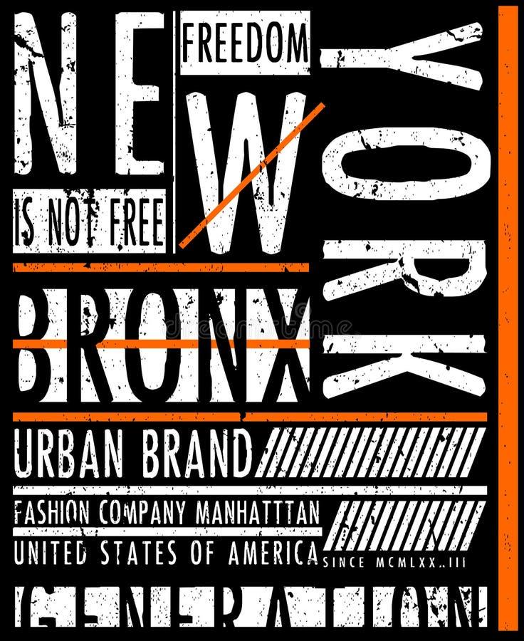 NYC, NEW YORK, de T-shirtontwerp van de Voorraad Vectorillustratie, Druk D royalty-vrije illustratie