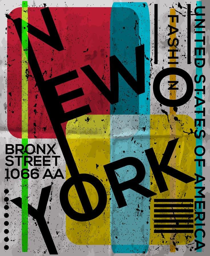 NYC, NEW YORK, projeto conservado em estoque do t-shirt da ilustração do vetor, cópia D ilustração stock
