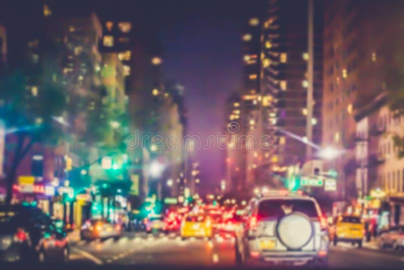NYC nocy plama z światłami obrazy royalty free