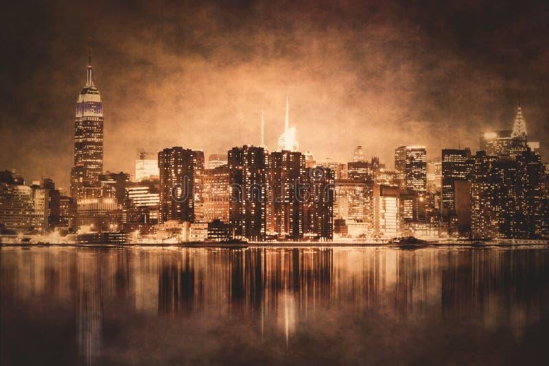 NYC nocy tekstury rocznik fotografia stock