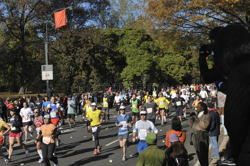 NYC Nov 7: 2010 Marathon runners Central Park royalty free stock image