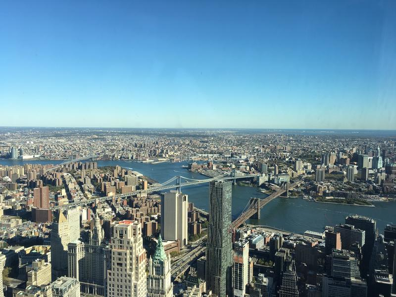 NYC panoramic view 102 floors high stock photography
