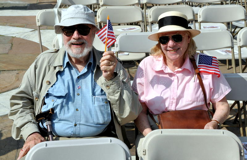 NYC: Patriotic Couple at Memorial Day Ceremony stock photography