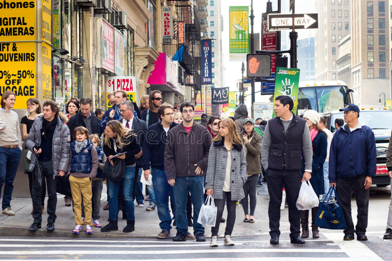 NYC Pedestrians Crossing royalty free stock photography