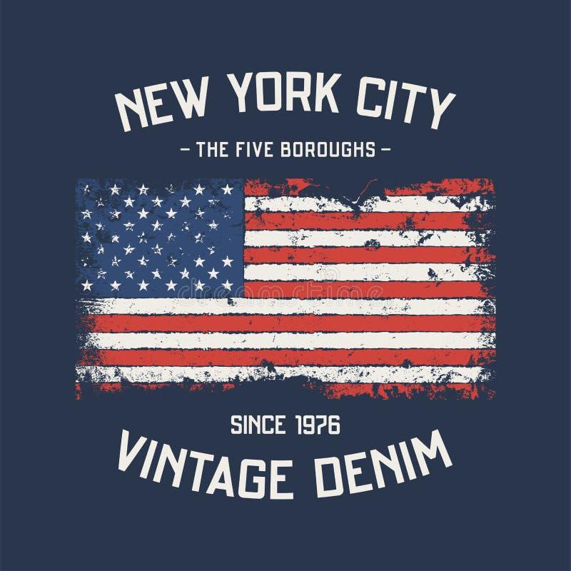 NYC pięć podgrodzi koszulka i odzież projektują z grunge eff ilustracja wektor