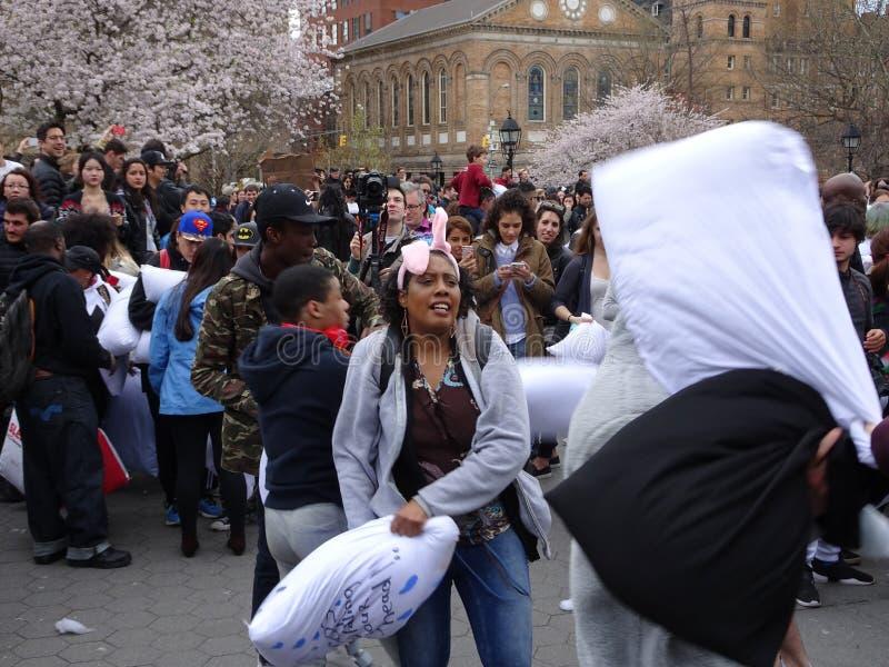 2016 NYC poduszki walki dzień 1 obraz royalty free