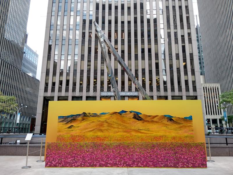 NYC Public Art Installation, Avenue of the Americas, Fantasy Landscapes, New York City, NY, USA stock photography