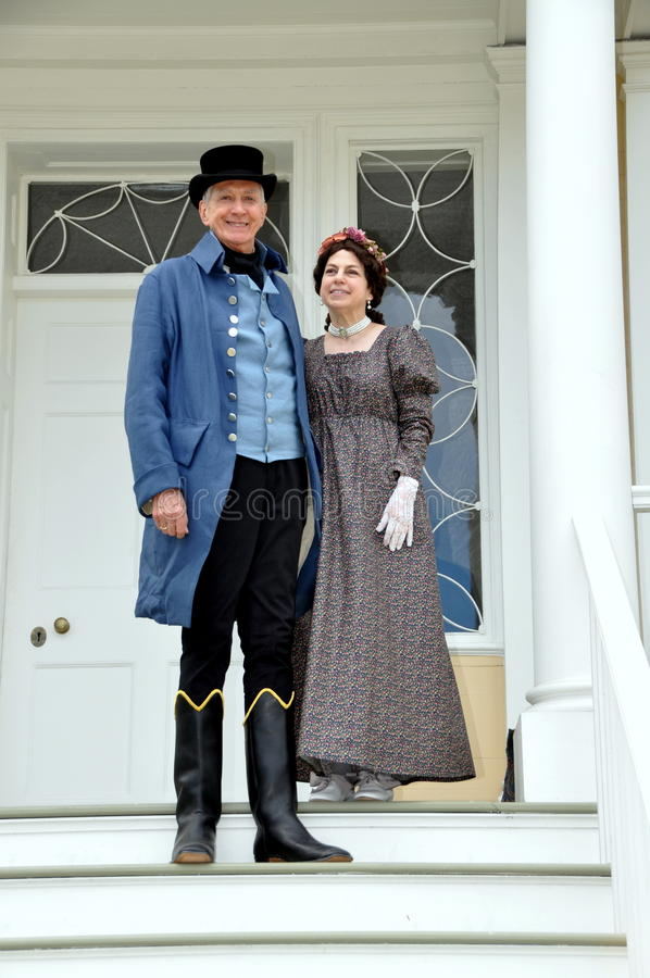NYC: Re-enactors as Alexander Hamilton and Wife stock images