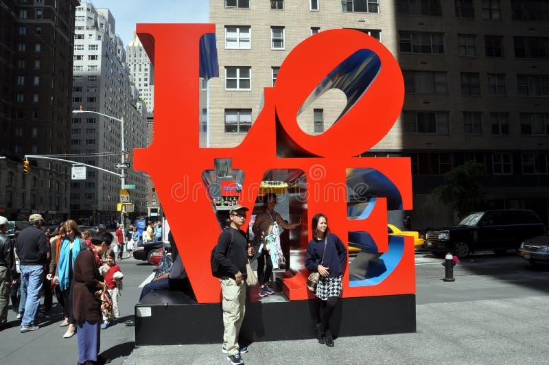NYC: Robert Indiana's Love Sculpture stock images