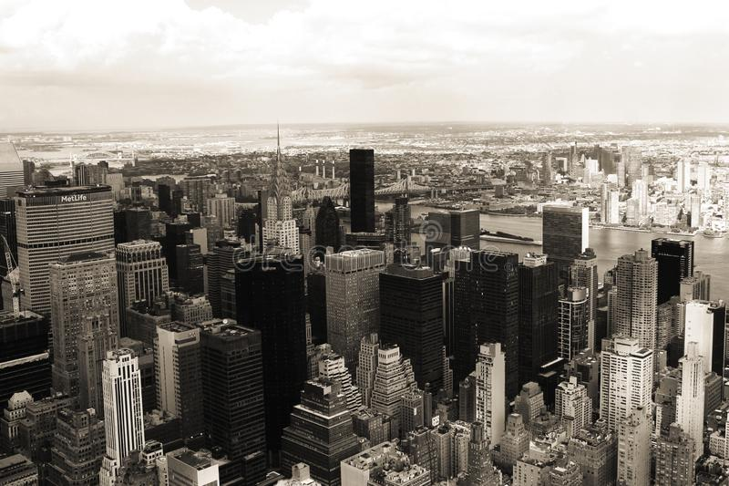 NYC in sepia. New York City in sepia, taken from the empire state building stock image
