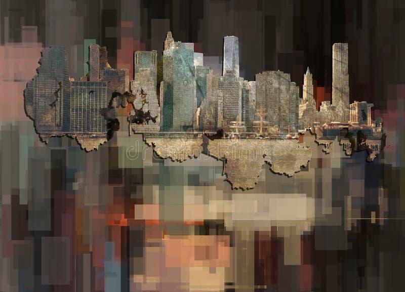 Circular Cityscape MENS T SHIRT city London New York Manhattan urban skyscraper