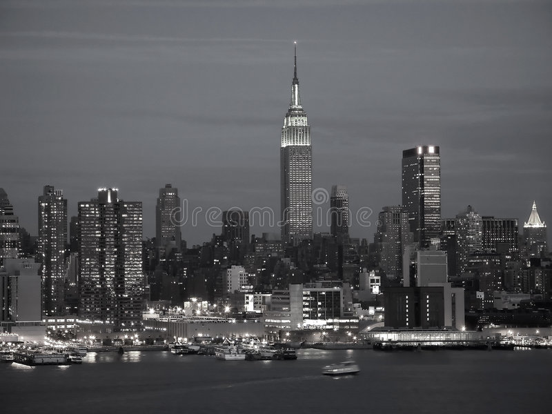 NYC Skyline BW. This is a B&W shot of the New York City skyline at night