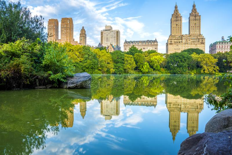 NYC skyline in Central Park stock images