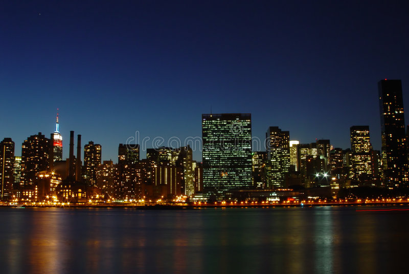 Nyc skyline at dusk stock images