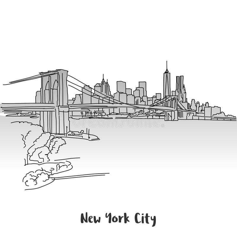 NYC Skyline Greeting Card Design. Hand-drawn Vector Outline Sketch royalty free illustration