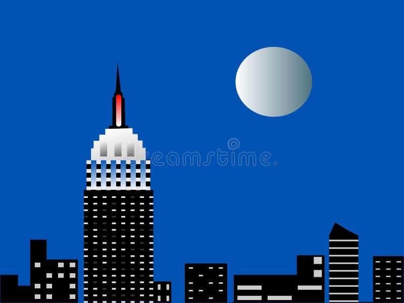 Nyc Skyline mit Vollmond vektor abbildung