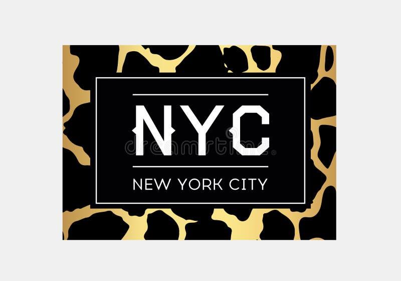 NYC-slogantypografie op de achtergrond van het luipaardpatroon Het ontwerp van de maniert-shirt De meisjes tee overhemds in druk vector illustratie
