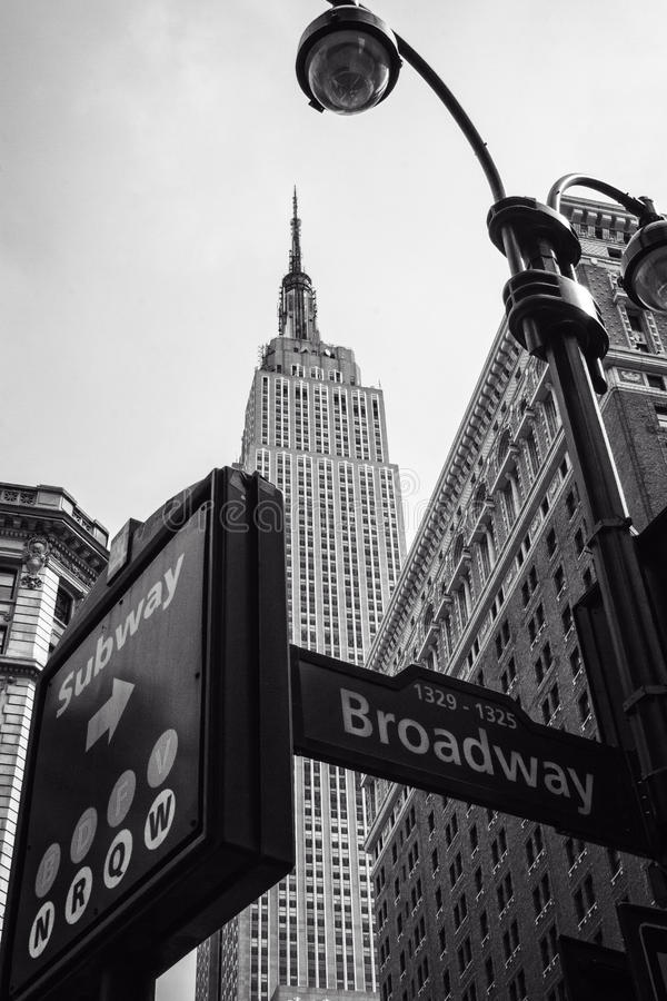 NYC Street signs B&W. NYC Street signs Broadway and Subway B&W stock images