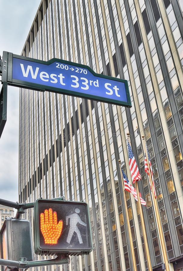 NYC street signs. West 33rd Street. West 33rd Street sign in New York City, USA royalty free stock image