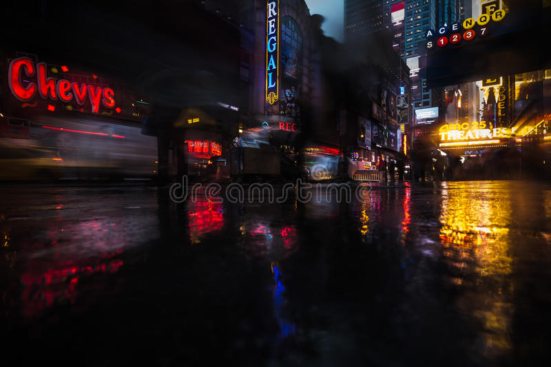 NYC streets after rain with reflections on wet asphalt stock images