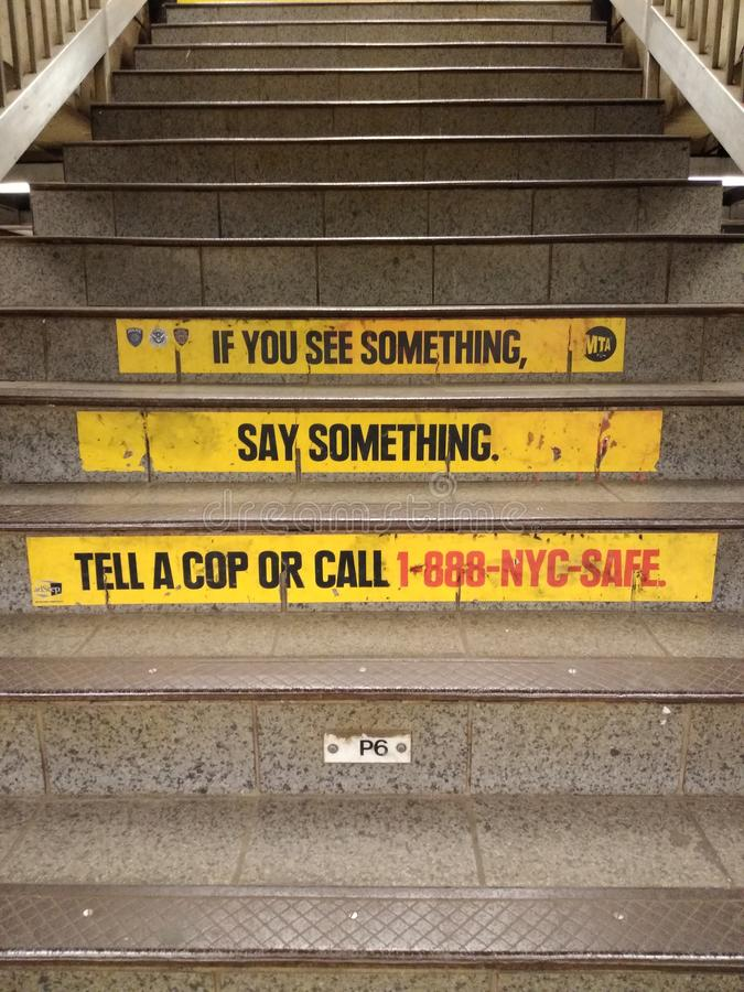 Free NYC Subway Safety, Security, If You See Something, Say Something, New York City, NY, USA Royalty Free Stock Image - 143388116