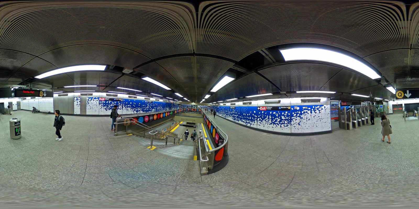NYC subway station at 96th Street in 360 VR format stock images