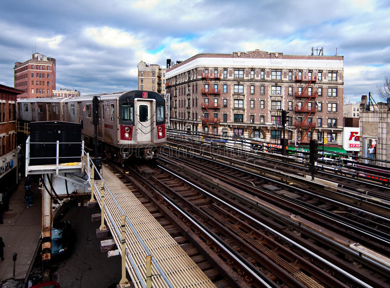 NYC Subway train riding through the Bronx royalty free stock photography