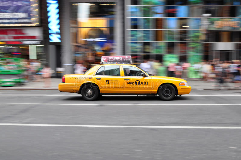 New York Taxi Cab Panning Shot. Panning shot of a New York City taxi cab taken on July 4, 2012 at Times Square in New York, USA stock photo