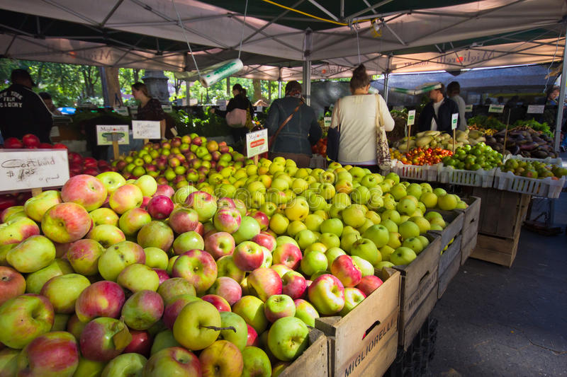 NYC Union Square Greenmarket. NEW YORK CITY - OCT. 7: Apples and other produce are for sale at Union Square Greenmarket in New York City on Oct. 7, 2011. This stock photo