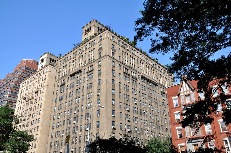 NYC: Upper West Side Luxury Co-op Building. Luxury pre-war Italianate designed apartment co-op building on Broadway in New York City on the desirable Upper West stock photo