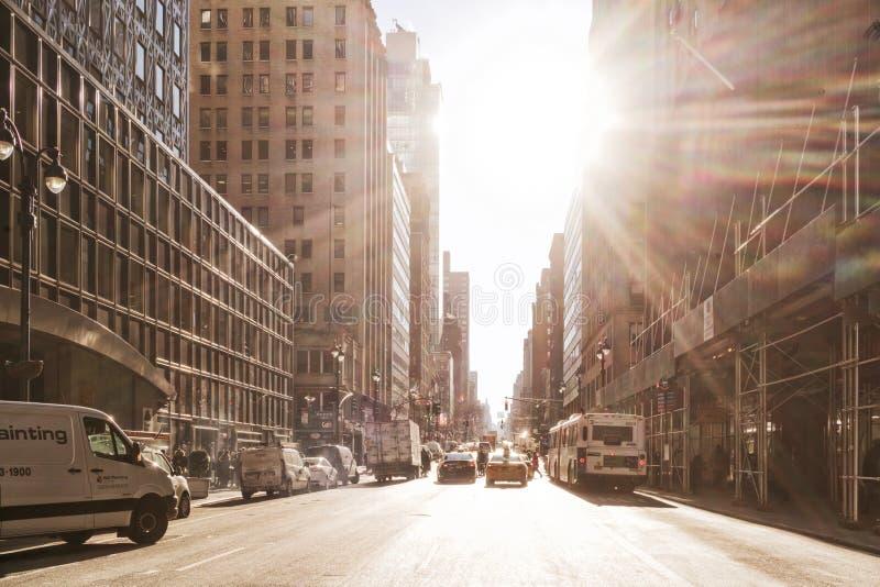 NYC/USA 02 JAN 2018 - New york street with sun. stock image