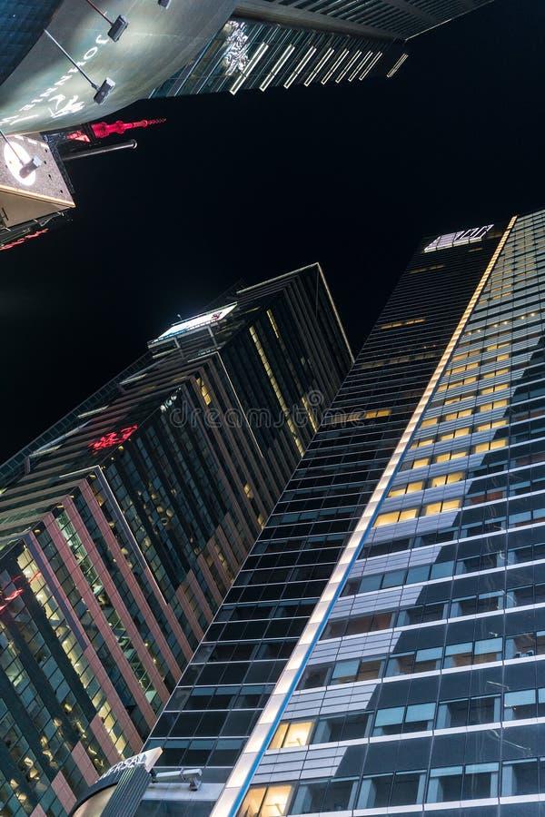 NYC/USA le 2 janvier 2018 - les gratte-ciel ajustent parfois à New York la nuit photo stock