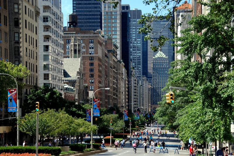 NYC: View of Park Avenue. View looking south on NYC's Park Avenue on the first Summer Streets Saturday when all traffic is banned turning the famed avenue into a royalty free stock image
