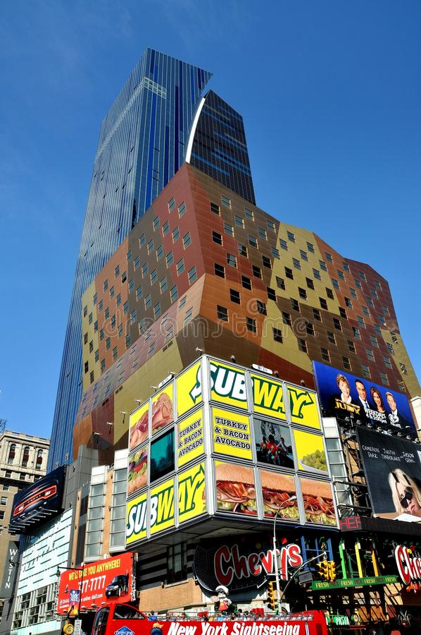 NYC: Westin Hotel and Advertising Billboards stock image