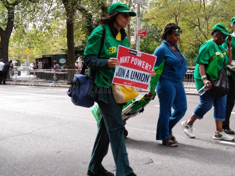 Union Power, Join A Union, Labor Day Parade, NYC, NY, USA. During the 2019 NYCCLC Labor Day Parade, a participant carries a sign that says, Want Power? Join A stock photo