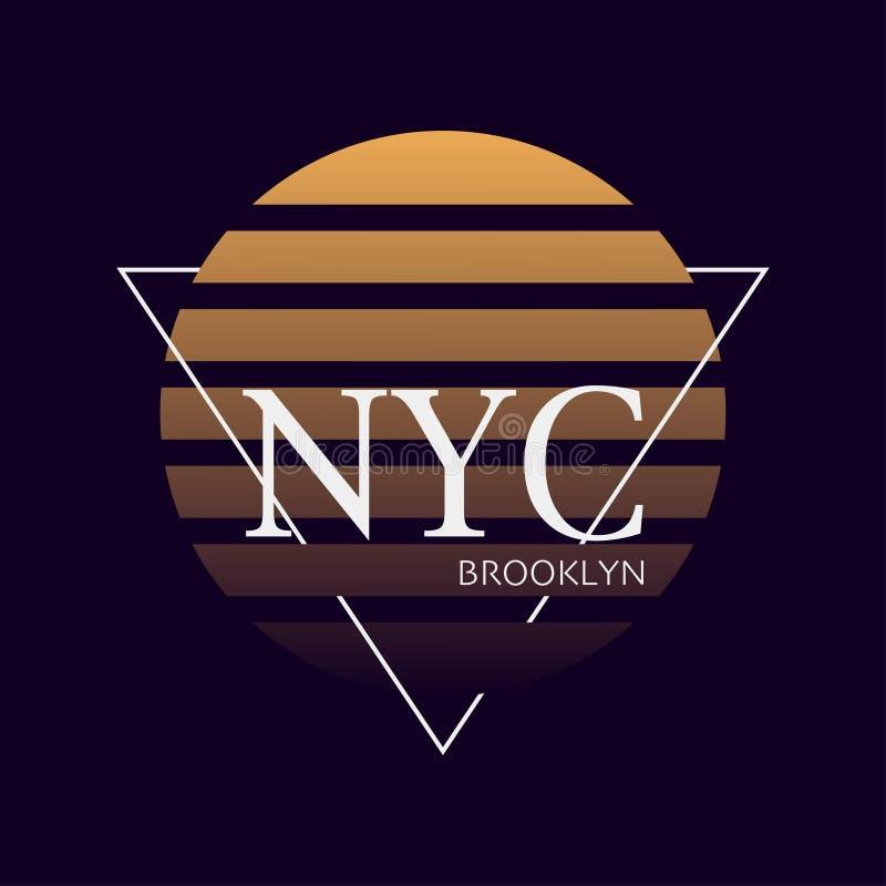 Nycdruk Typografieontwerp New York patroon op overhemd De illustratie van York Retro stijl - Het vector stock illustratie