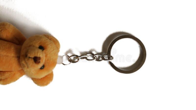Nyckel- cirkel för metall - Keychain på Teddy Bear royaltyfria foton