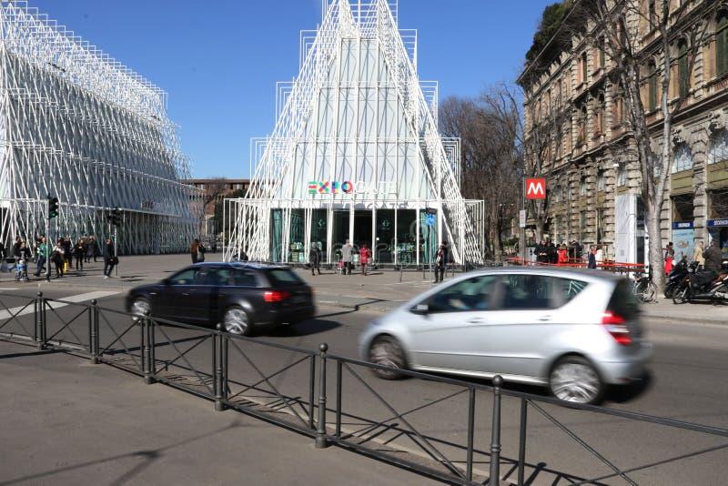 Nyckel för Milano milan expogate expo2015 arkivfoto