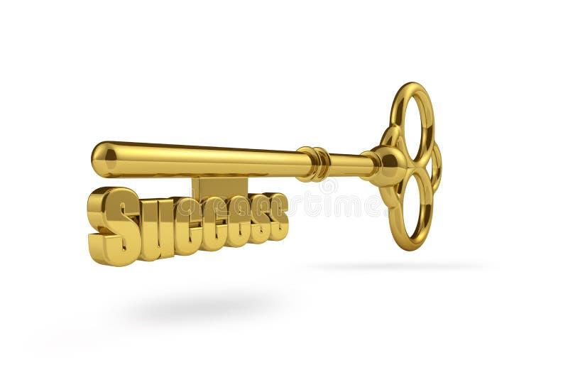 Nyckel- framgångbegrepp för guld stock illustrationer