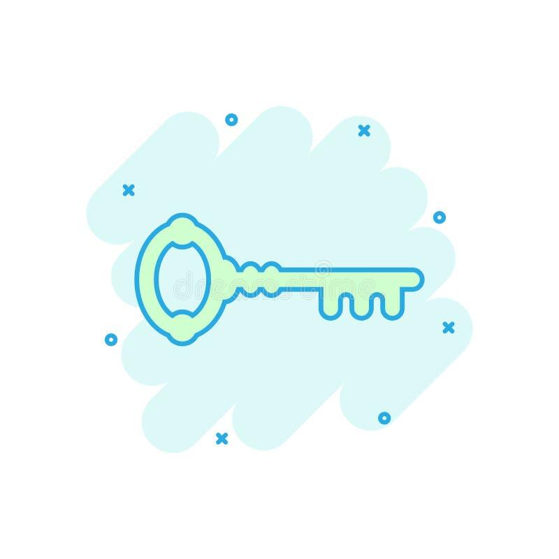 Nyckel- symbol i komisk stil Pictogram för illustration för tecknad film för tillträdesinloggningsvektor Effekt för färgstänk för royaltyfri illustrationer