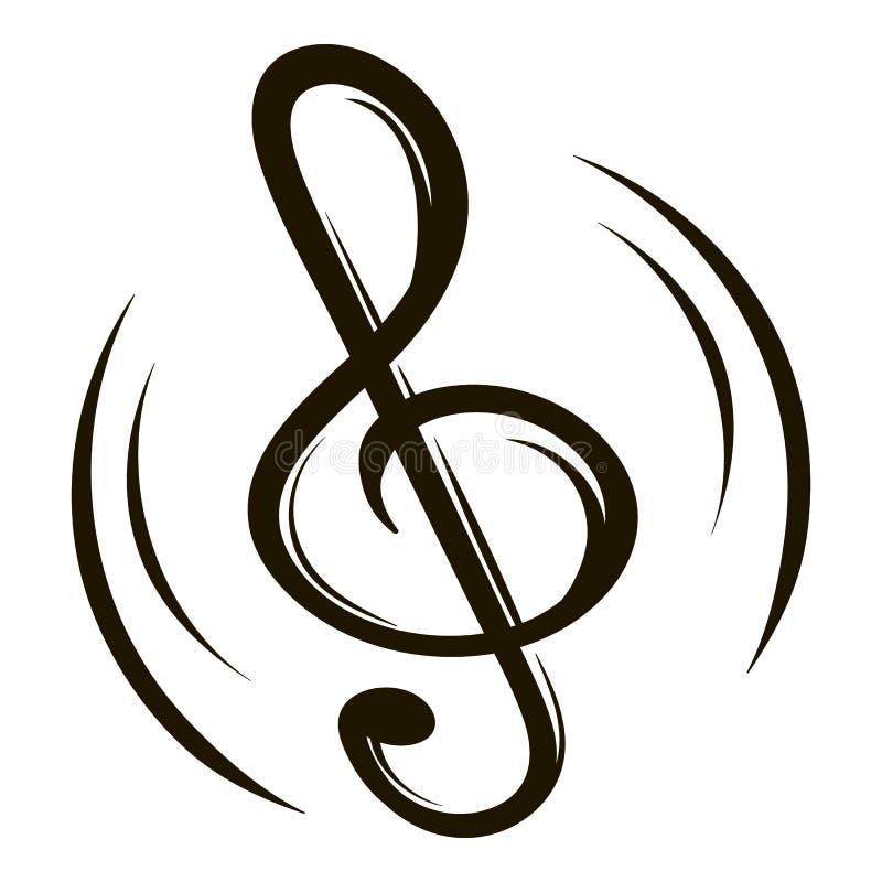 Nyckel- symbolstecknad film för musik stock illustrationer
