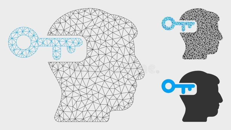 Nyckel- vektor Mesh Wire Frame Model för intellekt och mosaisk symbol för triangel royaltyfri illustrationer