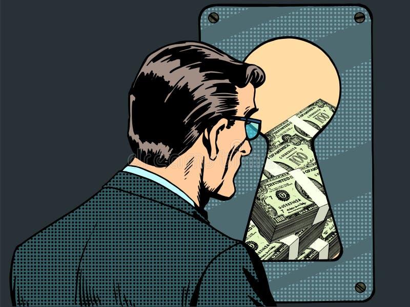 Nyckelhål för pengar för man för finansiell säkerhet stock illustrationer