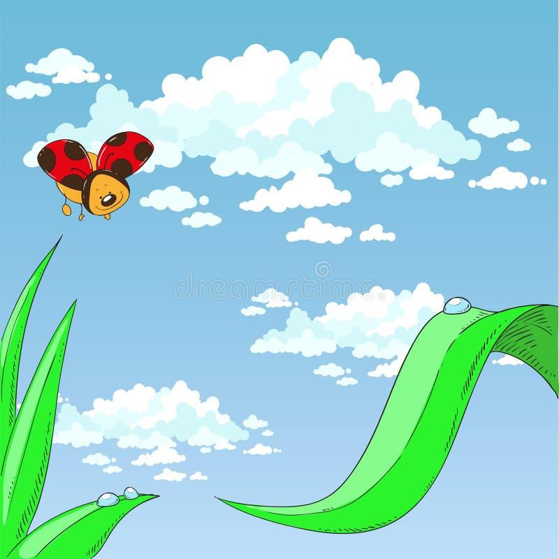 Nyckelpiga och gräs molnig sky stock illustrationer