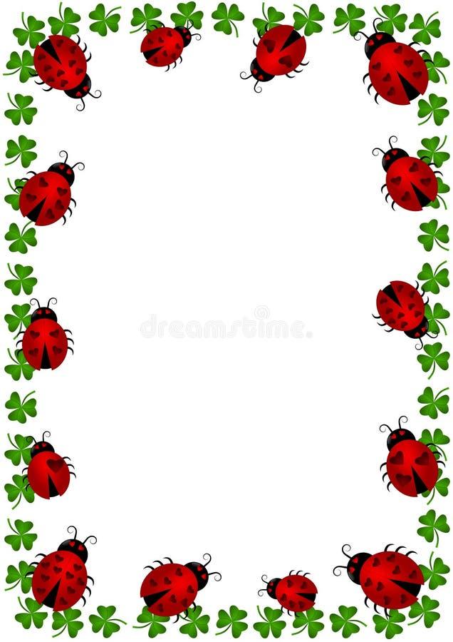 Nyckelpigor gränsar inramar med växter av släkten Trifolium stock illustrationer