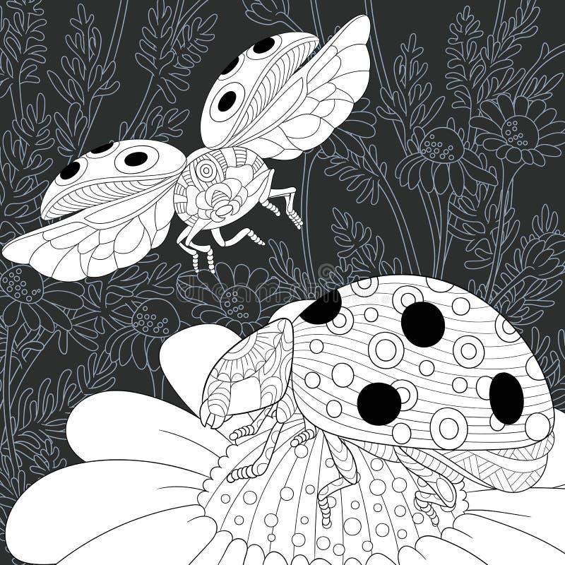 Nyckelpigor i svartvit stil royaltyfri illustrationer