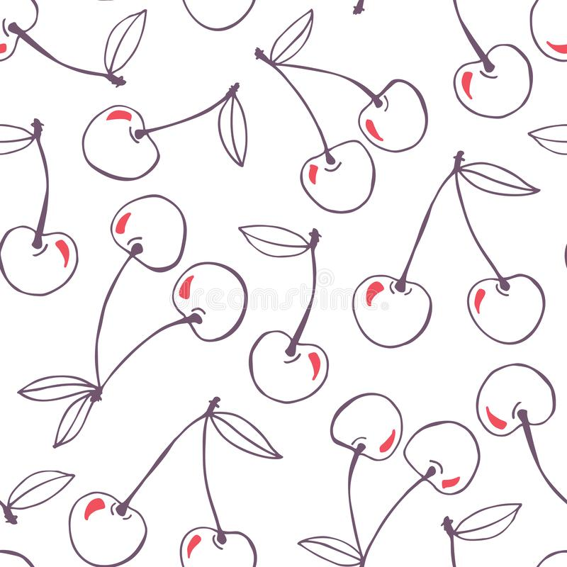 Nyckfull hand-dragen bakgrund för modell för klotterkörsbärvektor sömlös Linje Art Summer Fruits stock illustrationer
